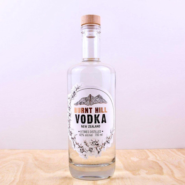 bottle of eco-friendly Burnt Hill Vodka from New Zealand