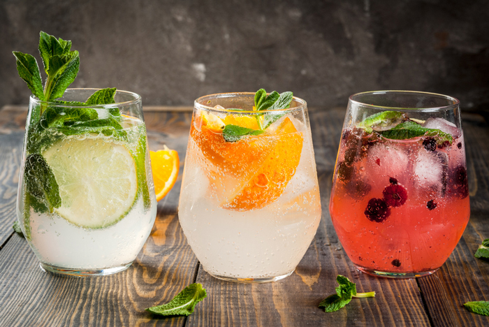 cocktails made with fruit and herbs