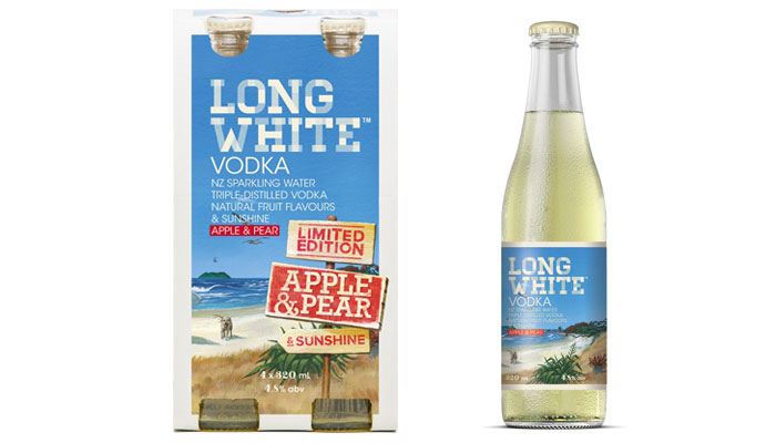 Long White, Long White vodka, vodka, pear, apple, apple and pear, New Zealand vodka, RTD, vodka RTD