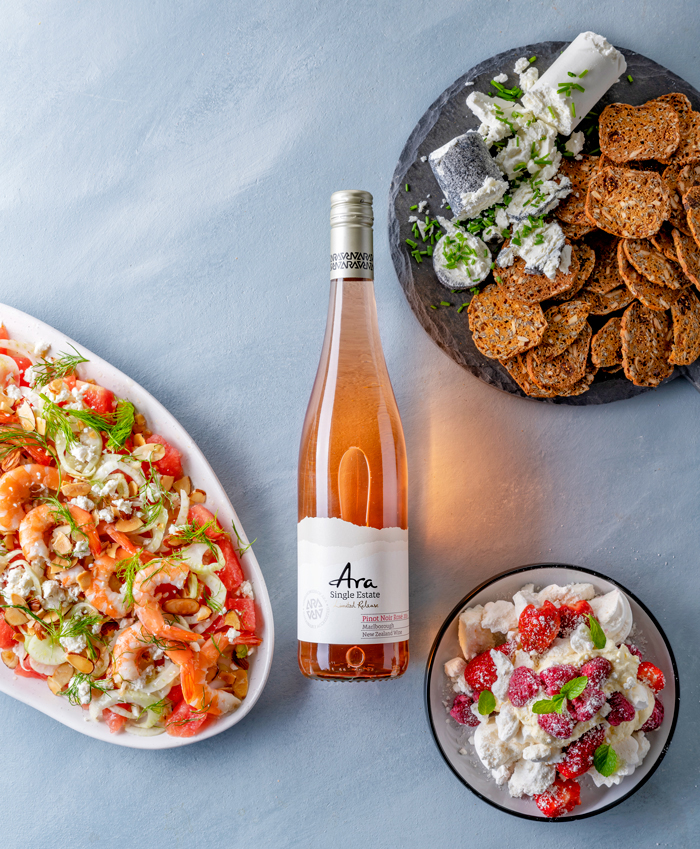 A bottle of New Zealand Rosé from Ara Single Estate, and beautiful food and rose wine matching when paired with goats cheese, crackers, prawn salads and fresh strawberries and cream